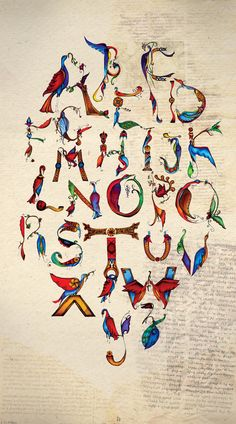 English Alphabet using Armenian Style Bird-Letters, so awesome!