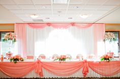 Pink Wedding Head Table. Not my color but I like way this is set up