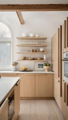 Kitchen Room Design, Home Decor Kitchen, Interior Design Kitchen, New Kitchen, Home Kitchens, White Oak Kitchen, Warm Kitchen, Neutral Kitchen, Cocinas Kitchen