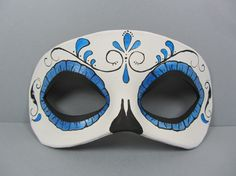 Day of the Dead metallic blue swirl leather mask by maskedzone, $30.00