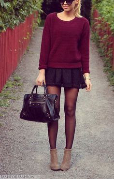 Burgundy Sweater + Mini Skirt