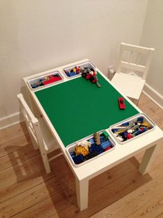 coffee table + 4 lego plates + 4 buckets from ikea = kids& very own lego table - fa . Lego Table With Storage, Lego Storage, Kids Storage, Storage Organization, Storage Ideas, Table Lego, Diy Table, Ikea Kids, Mesa Lego