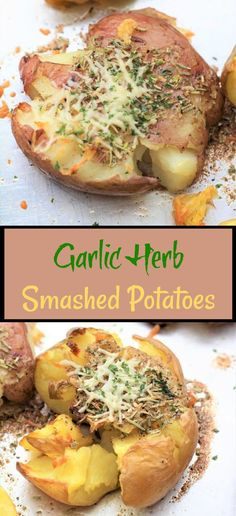Garlic herb smashed potatoes are a nice side to any dish. They are loaded with delicious flavor. You may like them soft or crispy. This is the time of year when we get our potatoes directly from the potato farmers in Idaho and there are always some that are big potatoes and some that are small. I prefer to make smashed potatoes with the smaller ones. Drizzled with melted butter, garlic salt, pepper, and rosemary. Then topped with parmesan cheese and chives. A fabulous way to serve potatoes. Garlic Smashed Potatoes, Healthy Meals, Healthy Recipes, How To Cook Potatoes, 30 Minute Meals, Garlic Salt, Pinterest Recipes, Melted Butter, Awesome Things