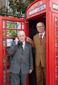 Gilbert & George take an important call in Spitalfields, in one of London's famous red telephone boxes. Gilbert & George, Collaborative Art, Working Together, Instagram Worthy, Portrait Ideas, Telephone, Fashion Photo, Britain, Boxes