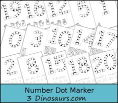 Free 0-20 Number Dot Marker Pages - 3 Types of Numbers plus writing, tally markers and hands & fingers - 3Dinosaurs.com