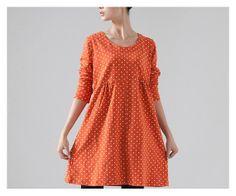 Fashion Leisure Orange Dots Dress Loose Fitting Cotton Fall/Spring Fashion Dress Long Sleeve Clothing Plus Size Autumn Sweater Size M/L