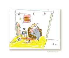 Studio Cat 3 Card  Cat Card  Art Lover by jamieshelman on Etsy