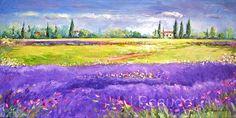 Original Oil Painting LANDSCAPE Lavender Fields by JBeaudetStudios, $550.00