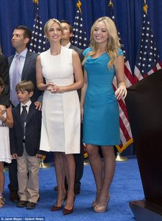 Family matters: Ivanka, pictured with her half-sister Tiffany (right), introduced her father before he announced his presidential bid