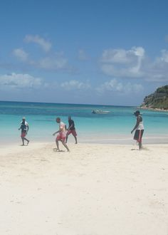 Playing soccer in Antigua Beach.