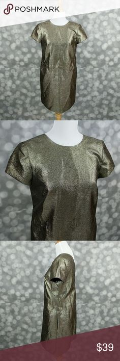 "Madewell T-shirt Shimmer Dress PRODUCT DETAILS  A leg-baring T-shirt style in a gilded fabric. Just call it easy, flash-free glam. Shift silhouette. Falls 34 1/2"" from shoulder. Poly/metallic threads. Dry clean. Import. Laying flat, dress measures approximately 18"" from armpit to armpit and has side pockets. Madewell Dresses Midi"