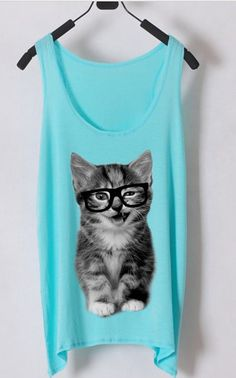 Nerdy Cat Tank Top- Black Glasses