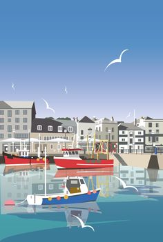 Vintage Travel Poster - The Barbican - Old Harbour of Plymouth - UK - by Dave Thompson - Poster Retro, Posters Uk, Railway Posters, Art Deco Posters, Vintage Travel Posters, British Travel, Tourism Poster, Barbican, Poster Series