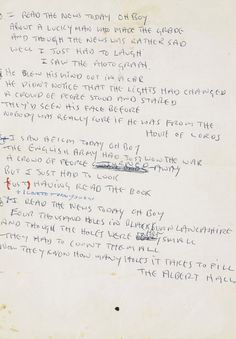 "Original lyrics to ""A Day in the Life"", handwritten by John Lennon"