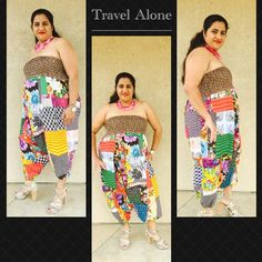 """🆕 Colorful Romper Two ways to dress it . Could be used as a romper or pants . So colorful and vibrant would go with any of your accessories and shoes .  Could easily got upto size 22🚩I m size 16-18 and 5""""2 modeling for u . 100% cotton fabric material with elastic at waist in patch material  . Waist measures without stretch 31"""" and goes upto 60"""" with stretch . Length measures 41"""" with elastic at the bottom . Nwot  . 🚩Please ask any question you have before buying it . There is no size tag…"""