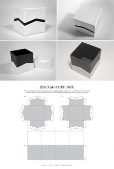 다양한 패키지 디자인 Zig Zag Cuff Box – FREE resource for structural packaging design dielines