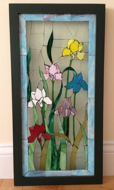 Beautiful Floral Iris Stained Glass Window Panel to Hang in Front of Window