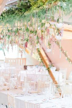 Wedding Reception Decor | Hanging Floral Installation with Trailing Ribbons and Glass Orbs | Top Table | Country Tipi Wedding with Macramé Arch and Hanging Flowers | Sarah-Jane Ethan Photography Lilac Wedding, Tipi Wedding, Wedding Reception Decorations, Wedding Table, Wedding Bouquets, Rustic Wedding, Wedding Venues, Wedding Trends, Dream Wedding