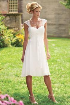 Kurzes Weißes Herz Ausschnitt gefaltetes  Chiffon Hochzeitskleid