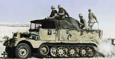 A Hanomag SdKfz 11 halftrack towing a field gun with the Afrika Corp