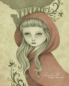 Print of Original Pencil Drawing, Girl Illustration, Woodland Fantasy - Little Red Riding Hood by Amalia K