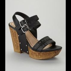 Black chunky wedge new in box no trades Double strapped wedge man made materials Shoes Wedges