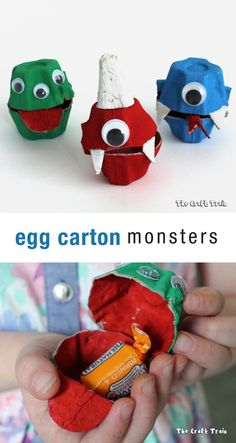 Easy egg carton monsters, a fun Halloween craft for kids. Place sweets inside and create a treasure hunt with them!