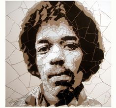 Talented and sexy Jimi Hendrix ceramic tile mosaic (62cmx62cm) by Ed Chapman. Jimi was widely regarded to be one of the most skilled and innovative guitar players in rock music. He, alas, died young, of an accidental drug overdose in London in 1970. But his death has not diminished his popularity and he has gone down in the annals of rock history as having relentless energy, enthusiasm and enormous sex appeal!