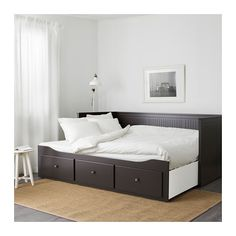 HEMNES Daybed frame with 3 drawers, black-brown. Four functions - sofa, single bed, double bed and storage solution. Painted Beds, Painted Drawers, Separation Studio, Ikea Hemnes Daybed, Cama Ikea, Daybed Room, Pull Out Bed, Lit Simple, Ikea Bedroom