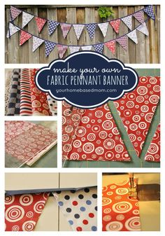 Dress up any party by creating yoru own fabric pennant banner www.yourhomebasedmom.com