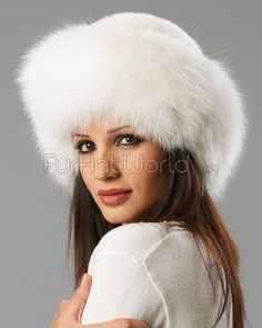 White Fox Fur Roller Hat with Mink Top
