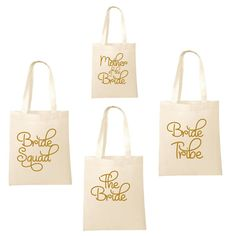 Printed in Gold Wedding Party Bridal Tote Bags, Bridesmaid, Favour Hen Party Bag