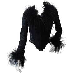 Preowned 1990s Ostrich Feather Corset Bustier Top ($1,100) ❤ liked on Polyvore featuring tops, blouses, multiple, corset bustier, zipper front blouse, bustier tops, bustier corset tops and stitch top