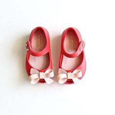 Ultragirl Bow Red Pink by Mini Melissa // www.shopsweetthreads.com