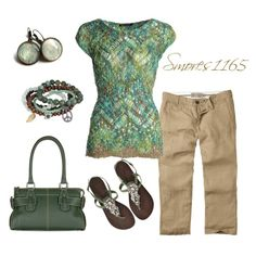 A fashion look from June 2014 featuring NIC+ZOE tops, Fat Face capri and Antik Batik sandals. Browse and shop related looks.