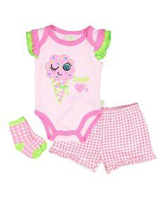Pink & Pink Gingham Ice Cream Bodysuit Set - Infant