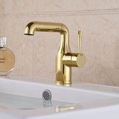 Seven Shape Different Design Gold Finish Bathroom Faucet Deck Mount Basin Taps