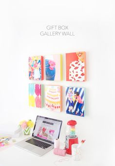 Easy Washi Tape Gallery Wall from Damasklove blog. Great and easy idea! Use show box covers or gift boxes and put photos on them for easy canvas photos!   http://damasklove.com/easy-washi-tape-gallery-wall/