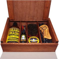 Complete Beard Care Grooming Kit with Beard Oil, Balm, Mustache Wax, Shampoo, Brush and Comb in Wooden Box