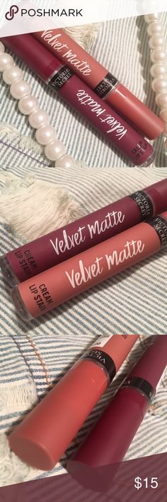 ⭐️⭐️ VS Matte Cream Lip Stain Bundle Victoria Secret VS Matte Finish Cream Lip Stain. Factory Sealed. Retails at $14.00 each. Colors are Drama & Perfection Victoria's Secret Makeup Lipstick