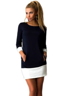 Black Patchwork White Collarless Round Neck 3/5 Length Sleeve Mini Dress