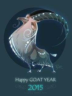 Happy Goat Year by Dragibuz on DeviantArt Creature Drawings, Animal Drawings, Art Drawings, Fantasy Creatures, Mythical Creatures, Happy Goat, Creature Concept, Animal Design, Creature Design