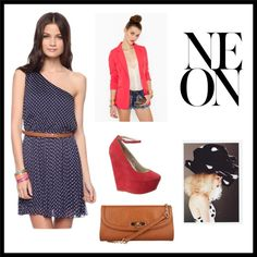 Polka dots and NEON, created by erin-faulkner on Polyvore