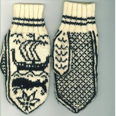 The World's Best Photos of mittens and strikking Mittens Pattern, Knit Mittens, Knitted Gloves, Knitting Socks, Hand Knitting, Fair Isle Knitting Patterns, Knitting Charts, Black And White Mittens, Fingerless Mitts