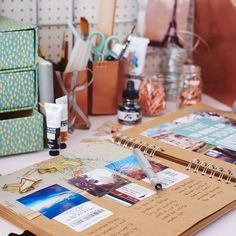 A scrapbook on a desk with copper accessories really is the way forward. Try one of our scrapbooking workshops, available in London, Manchester & Glasgow.