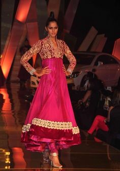 Oooh! Fuchsia pink anarkali - heavily embroidered yolk, with long sleeves. #bridal