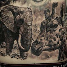 i want this minus the elephant- Tattoo by Dmitriy Samohin Realistic Elephant Tattoo, Hyper Realistic Tattoo, Elephant Tattoos, Animal Sleeve Tattoo, Animal Tattoos, Horse Tattoos, Body Tattoos, Life Tattoos, Tatoos