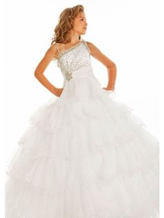 MZ0476 White Organza Ball Gown Beaded Sequins Angel Dresses Flower Girl Dresses for 7 Year Olds $113.69