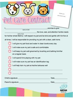 From imom pet care contract pet care contract for kids free printable