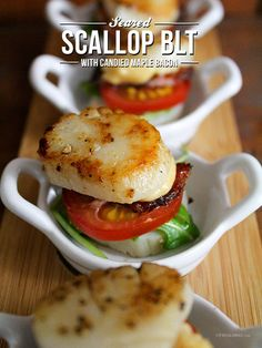 Seared Scallop BLT with Candied Maple Bacon - Wish some one would make these for me!  They look delish but a lot of effort.